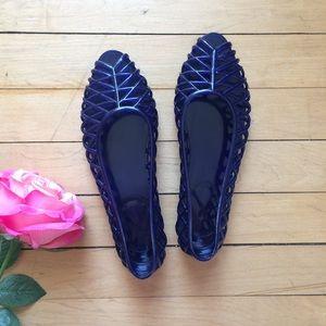 American Apparel Dark Blue Lattice Jelly Sandal